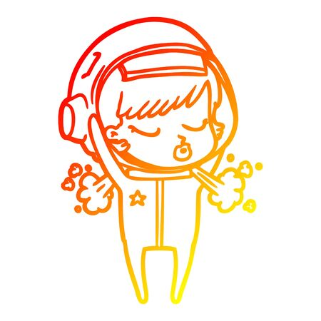 warm gradient line drawing of a cartoon pretty astronaut girl taking off helmet Stock fotó - 128410755