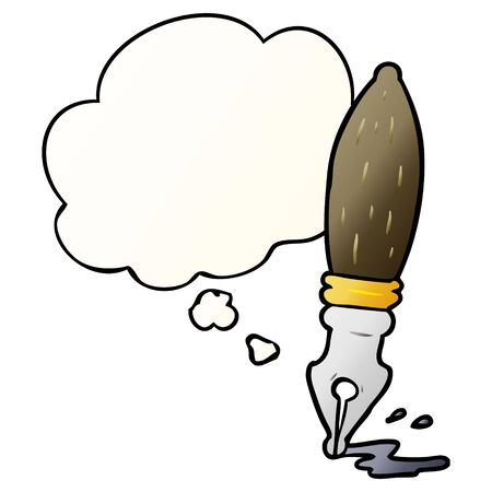 cartoon pen with thought bubble in smooth gradient style Illustration
