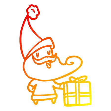 warm gradient line drawing of a santa claus Ilustrace