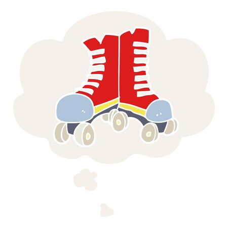 cartoon roller boots with thought bubble in retro style