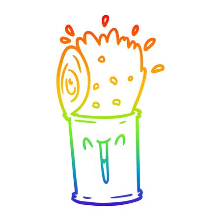 rainbow gradient line drawing of a cartoon happy exploding soup can