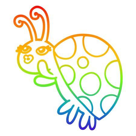 rainbow gradient line drawing of a cartoon ladybug Illustration