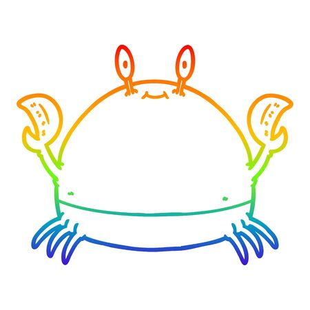 rainbow gradient line drawing of a cartoon crab