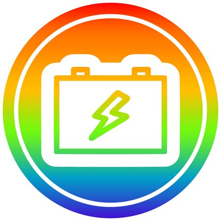 industrial battery icon with rainbow gradient finish Çizim