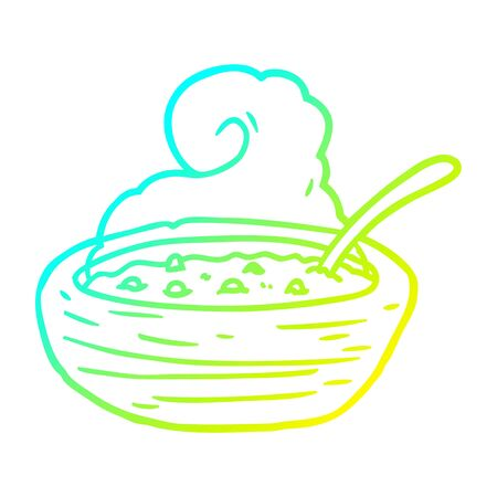 cold gradient line drawing of a hot bowl of broth Illustration