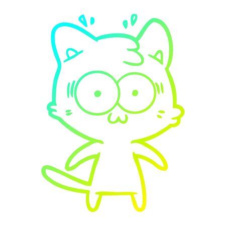 cold gradient line drawing of a cartoon surprised cat Ilustração