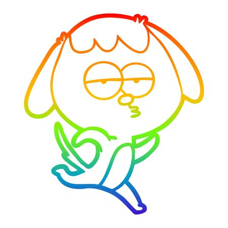 rainbow gradient line drawing of a cartoon bored dog running