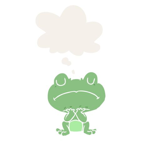 cartoon frog with thought bubble in retro style Ilustrace