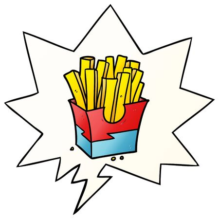 cartoon junk food fries with speech bubble in smooth gradient style