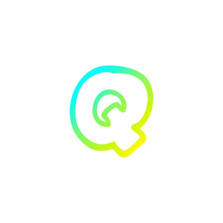 cold gradient line drawing of a cartoon letter q