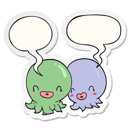 two cartoon octopi  with speech bubble sticker Archivio Fotografico - 128410879