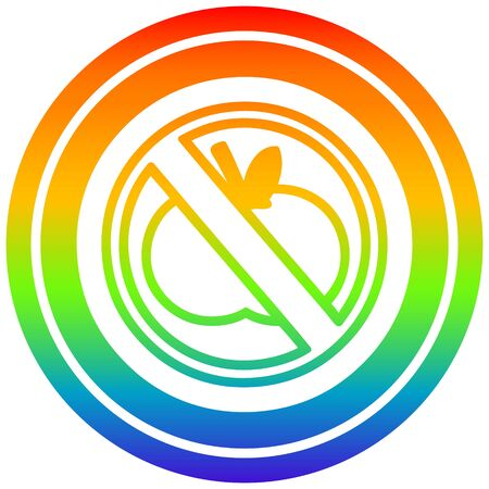 no healthy food circular icon with rainbow gradient finish Illustration