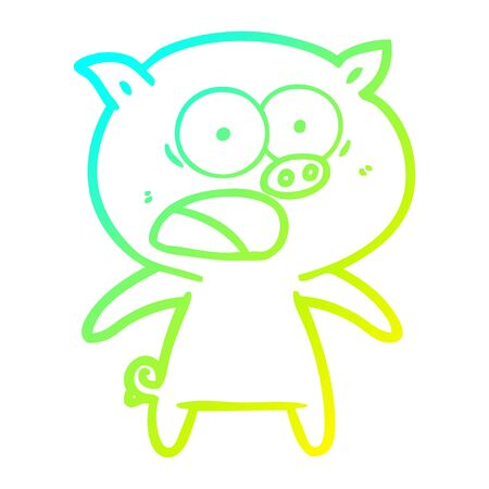 cold gradient line drawing of a cartoon pig shouting