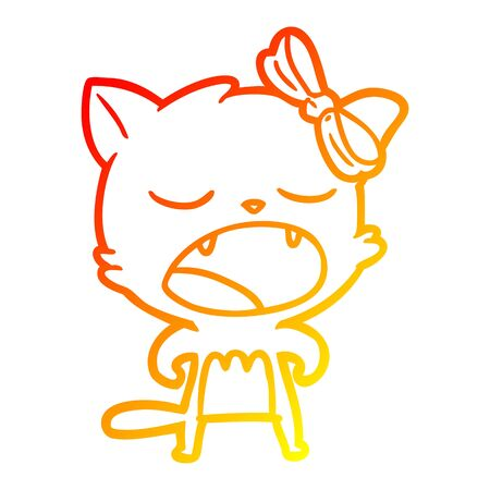 warm gradient line drawing of a cartoon cat meowing