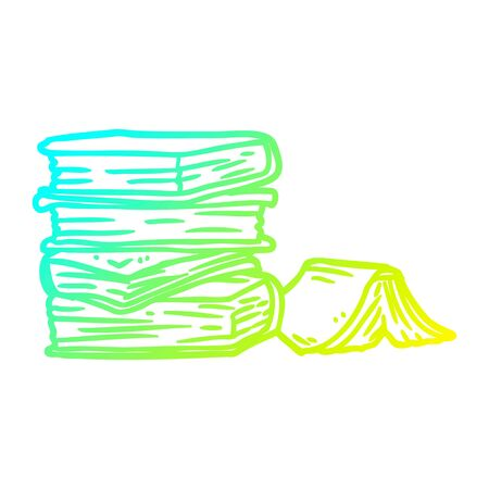 cold gradient line drawing of a pile of books