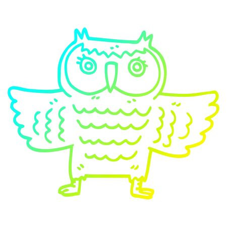 cold gradient line drawing of a cartoon wise old owl