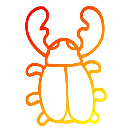 warm gradient line drawing of a cartoon huge beetle 스톡 콘텐츠 - 128410888