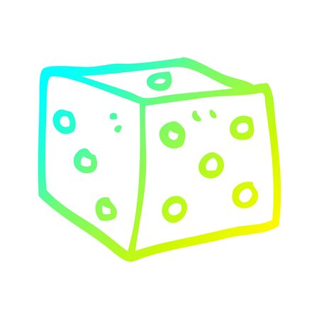cold gradient line drawing of a cartoon classic dice Ilustrace