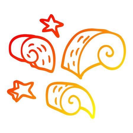 warm gradient line drawing of a cartoon decorative spiral element