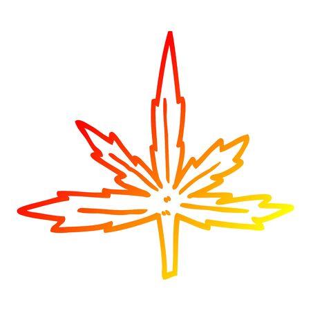 warm gradient line drawing of a cartoon marijuana leaf