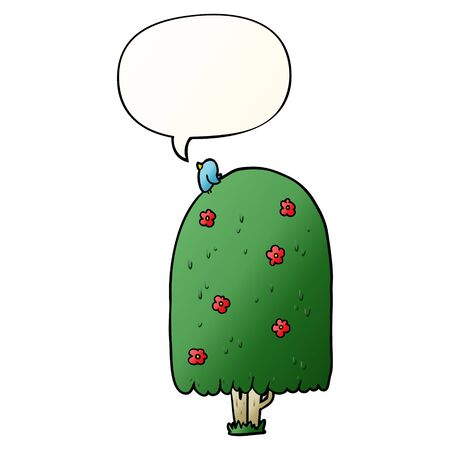 cartoon tall tree with speech bubble in smooth gradient style Imagens - 128410936