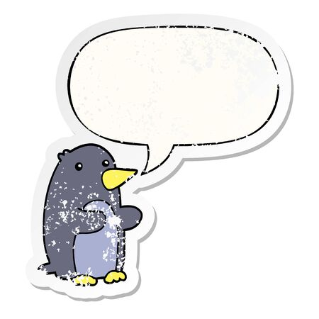 cartoon penguin with speech bubble distressed distressed old sticker