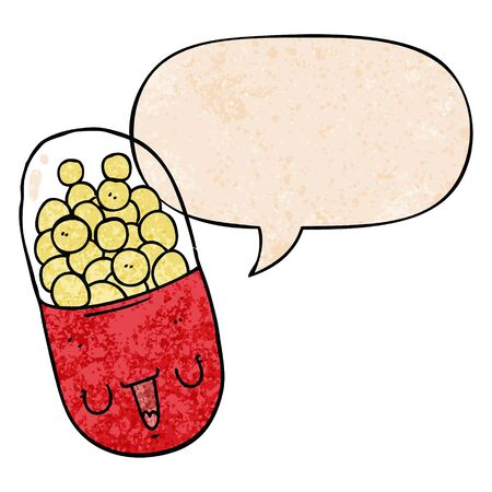 cartoon medical pill with speech bubble in retro texture style