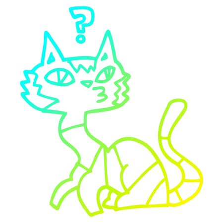 cold gradient line drawing of a cartoon cat Illustration