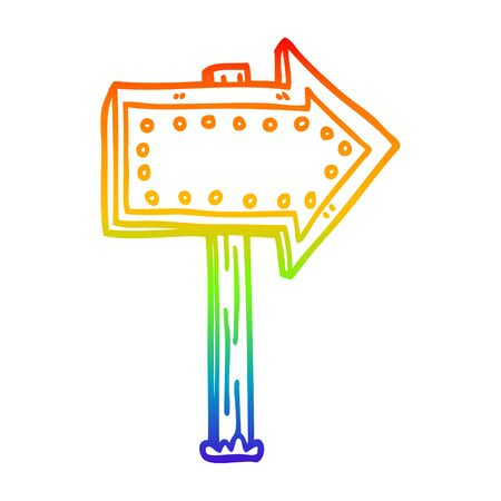 rainbow gradient line drawing of a cartoon lit up sign Stock fotó - 128330923