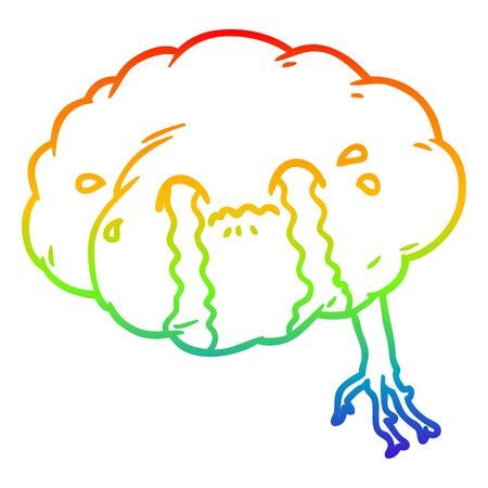 rainbow gradient line drawing of a cartoon brain with headache