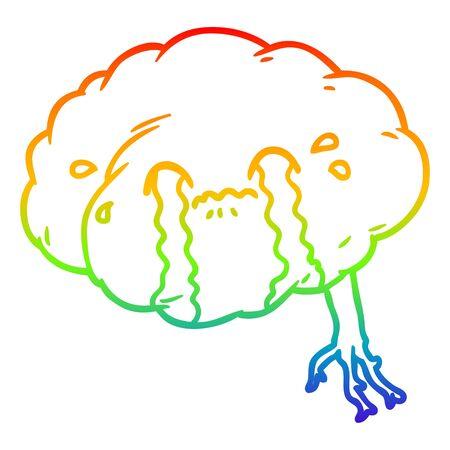 rainbow gradient line drawing of a cartoon brain with headache