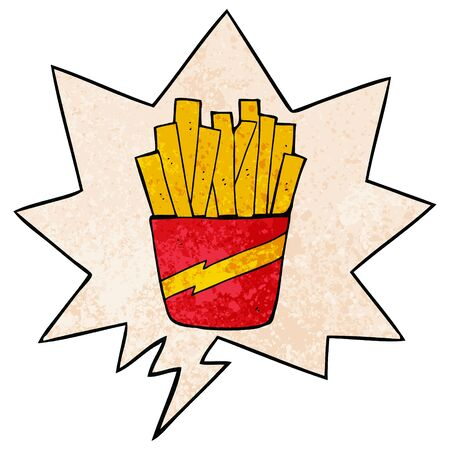 cartoon box of fries with speech bubble in retro texture style