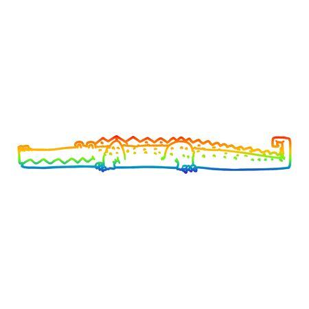 Rainbow gradient line drawing of a cartoon crocodile