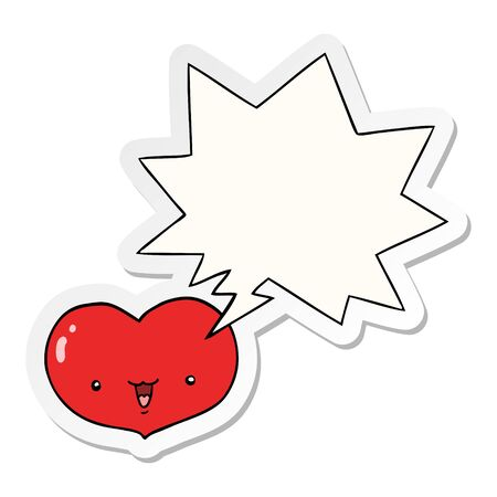 cartoon love heart character with speech bubble sticker