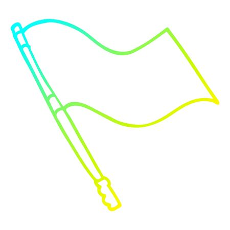 cold gradient line drawing of a cartoon flag Banque d'images - 128596667