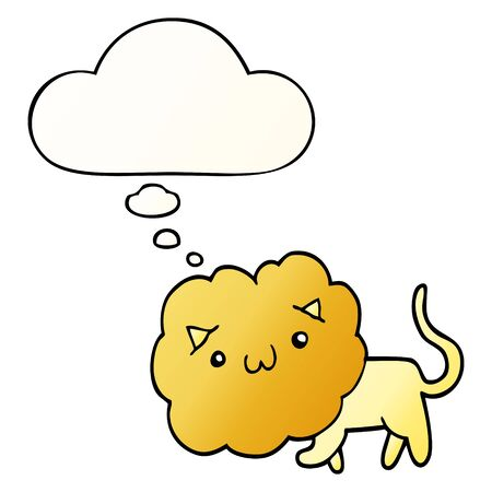cute cartoon lion with thought bubble in smooth gradient style