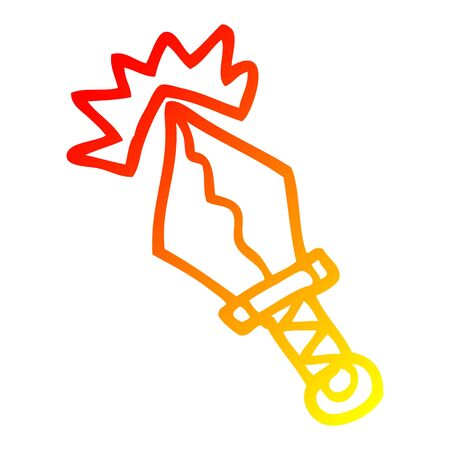 warm gradient line drawing of a cartoon small magical dagger