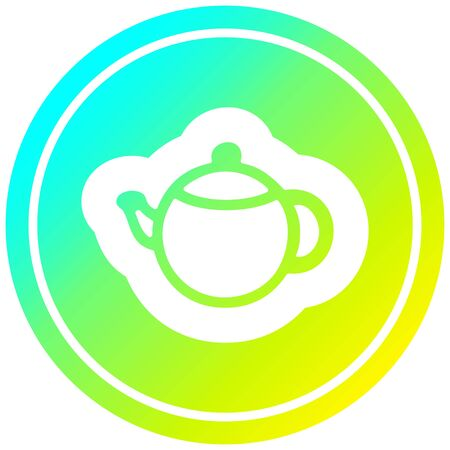 tea pot circular icon with cool gradient finish