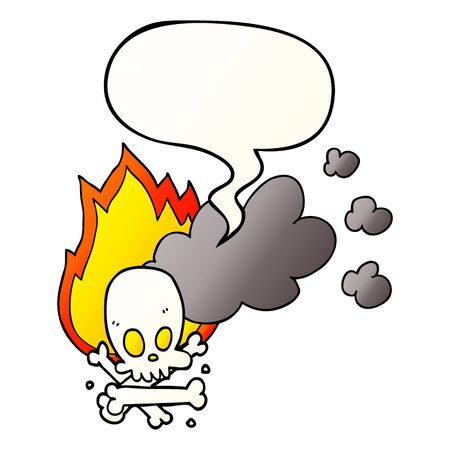 cartoon spooky burning bones with speech bubble in smooth gradient style