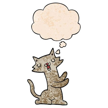 cartoon cat with thought bubble in grunge texture style