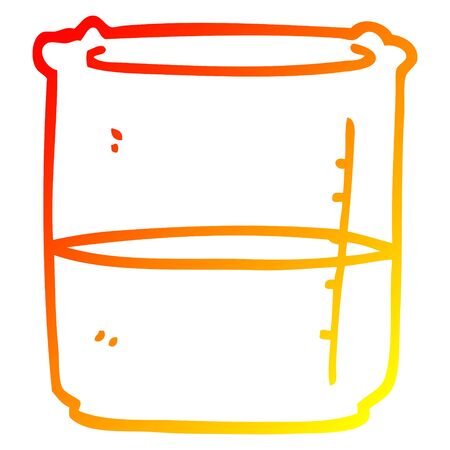warm gradient line drawing of a cartoon beaker of blood Ilustração
