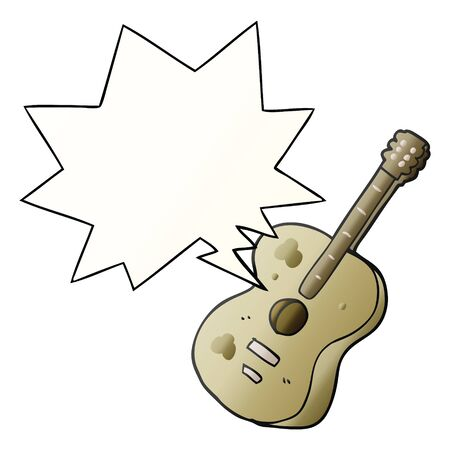 cartoon guitar with speech bubble in smooth gradient style