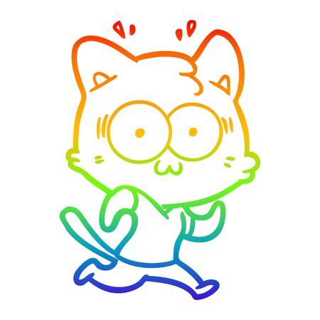 rainbow gradient line drawing of a cartoon surprised cat running 向量圖像
