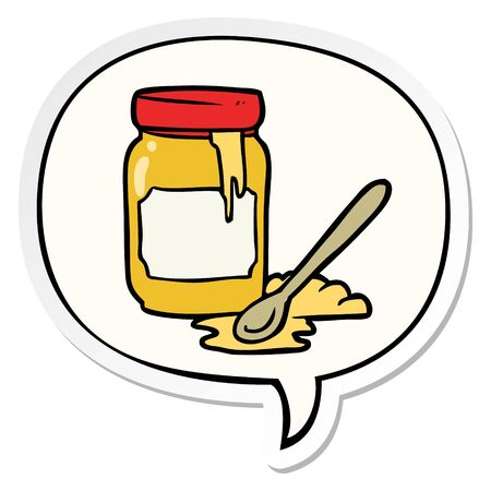 cartoon jar of honey with speech bubble sticker