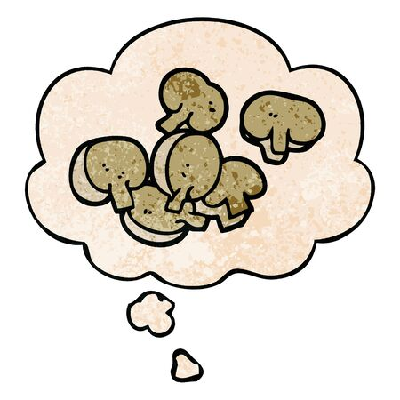 cartoon chopped mushrooms with thought bubble in grunge texture style