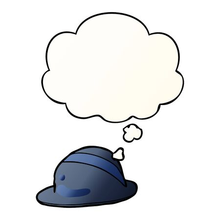 cartoon bowler hat with thought bubble in smooth gradient style Ilustração