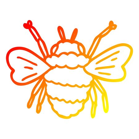 warm gradient line drawing of a cartoon bee Illustration
