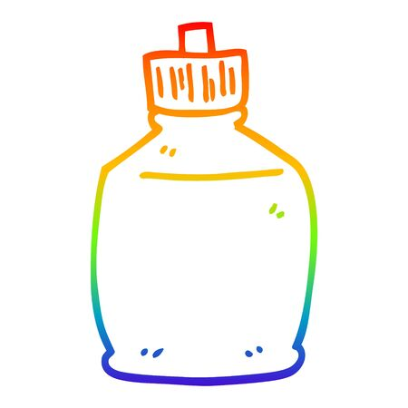 rainbow gradient line drawing of a cartoon squirt bottle Illustration