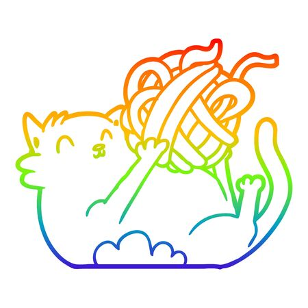 rainbow gradient line drawing of a cartoon cat playing with ball of string Illustration