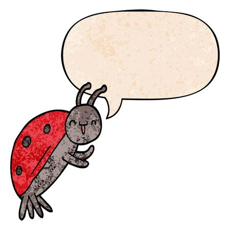 cute cartoon ladybug with speech bubble in retro texture style Foto de archivo - 128596693